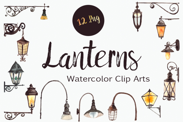Watercolor Lanterns Clip Art Set