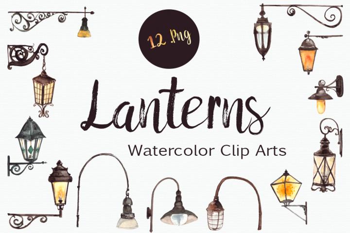 Watercolor Lanterns Clip Art Set