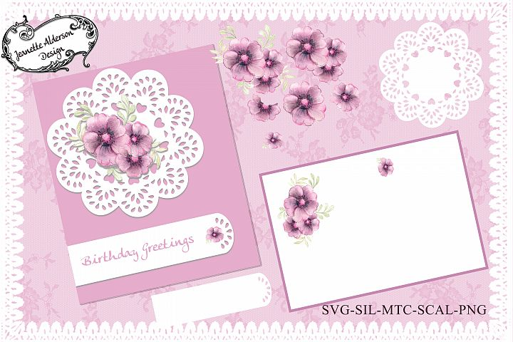 Mauve watercolour flower decoupage card kit