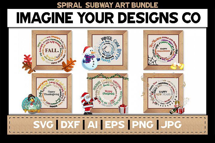 Spiral Subway Printable SVG Clipart Bundle