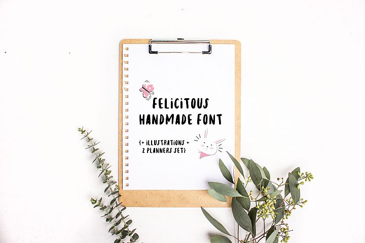 Felicitous font, illustrations and planners