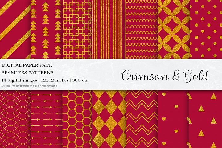 Crimson Gold Digital Paper, Gold Seamless Patterns, Gold