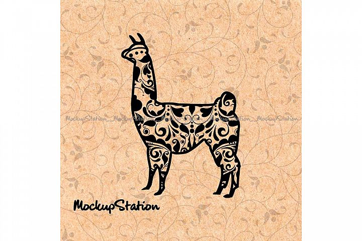 Llama Mandala SVG, Alpaca Flower Decor PNG Cut File Clip Art