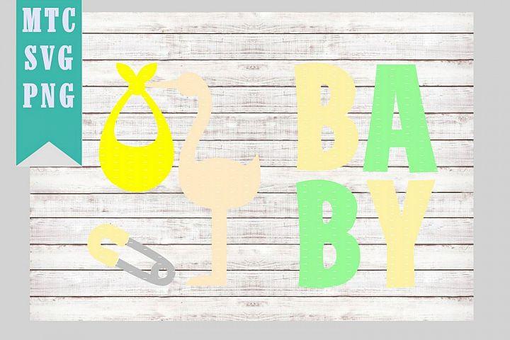 Scrapbook Baby Stork Pin Embellishments Mat SVG Cut File