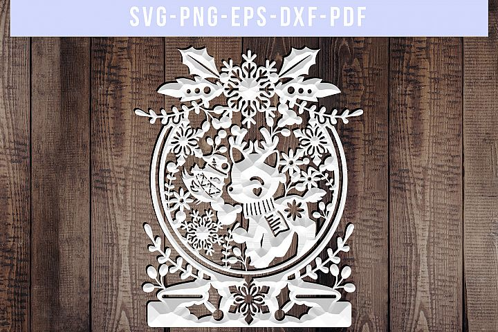 Winter SVG Cut File, Snowflake Papercut, Christmas Reindeer