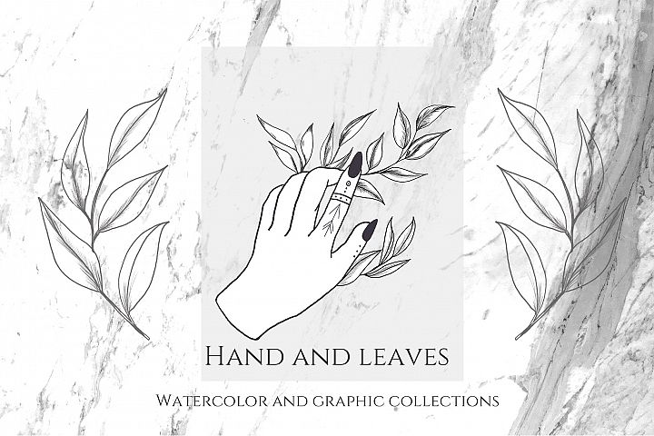 Hand and Leaves. Watercolor and graphic