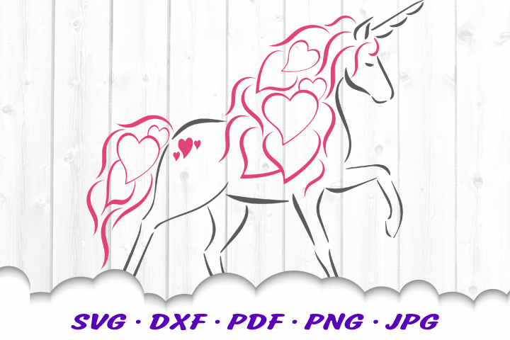 Valentine Unicorn Hearts SVG DXF Cut Files
