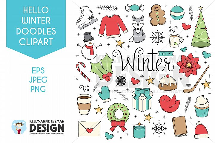 Christmas Winter Doodle objects, Hand drawn Clip Art Set