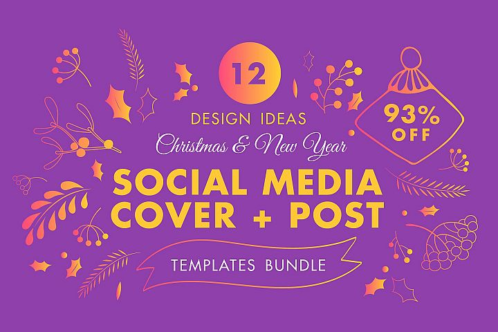 Winter Social Media Cover & Post Design Templates Bundle SALE