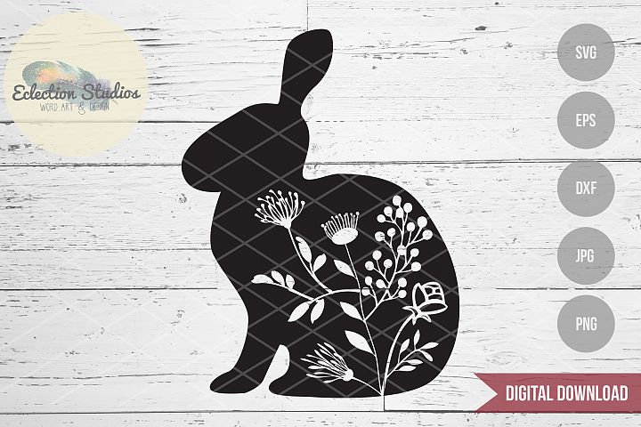 Floral Rabbit, Bunny with Flowers, Easter Bunny Spring SVG