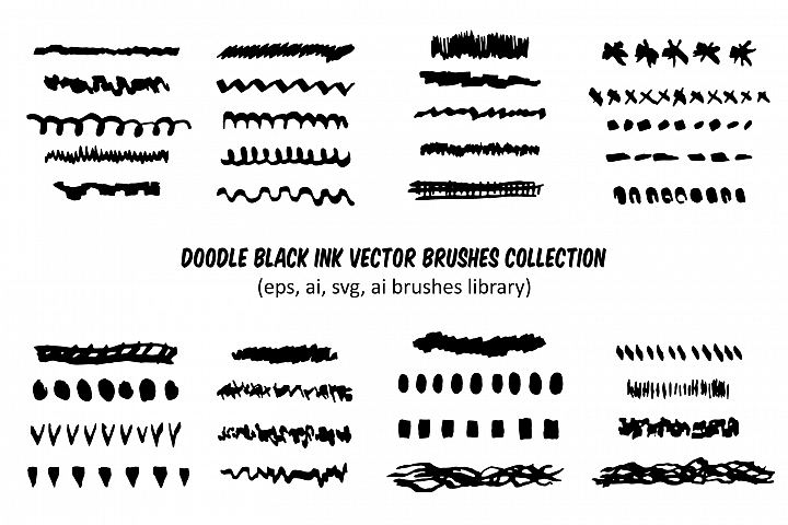 Doodle black ink brush strokes collection