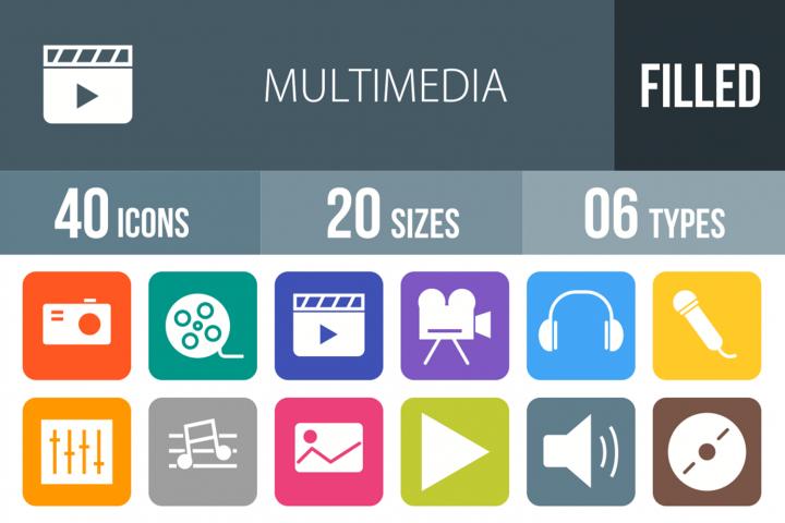 40 Multimedia Filled Round Corner Icons