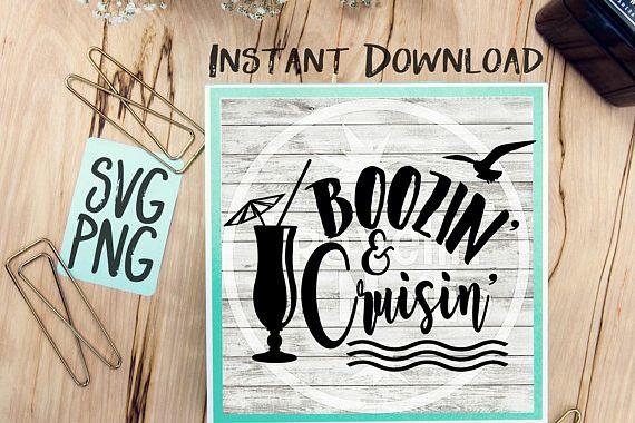 Boozin & Cruisin SVG Image Design for Vinyl Cutters Print DIY Shirt Design Cruise Vacation Anchor Brother Cricut Cameo Cutout