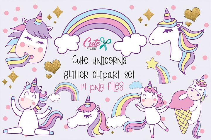 Cute unicorns clipart set, 14 png files