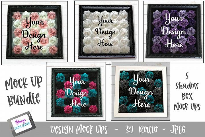 Mock Up Bundle- Rolled flower shadow box - 5 Mock Ups