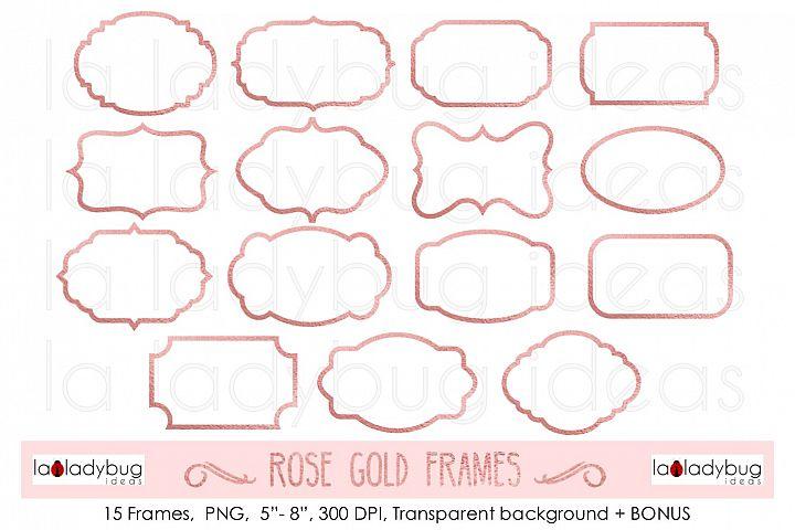Rose gold frames. Clip art. Rose gold foil frames.