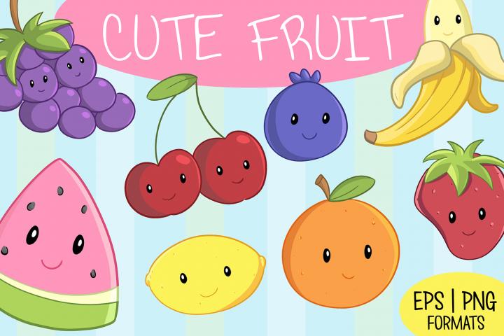 Cute Fruit Illustration Set