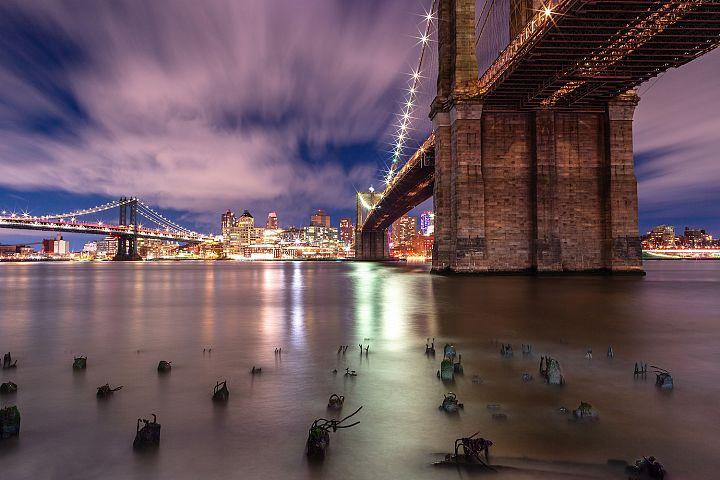 View on Brooklyn bridge ,Manhattan Bridge and Dumbo at night