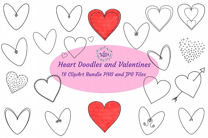 Valentine Heart Doodles ClipArt Bundle Valentines Day Love