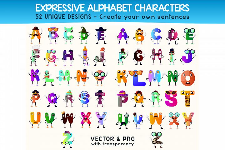 52x Alphabet Letters Character - Create your own sentence