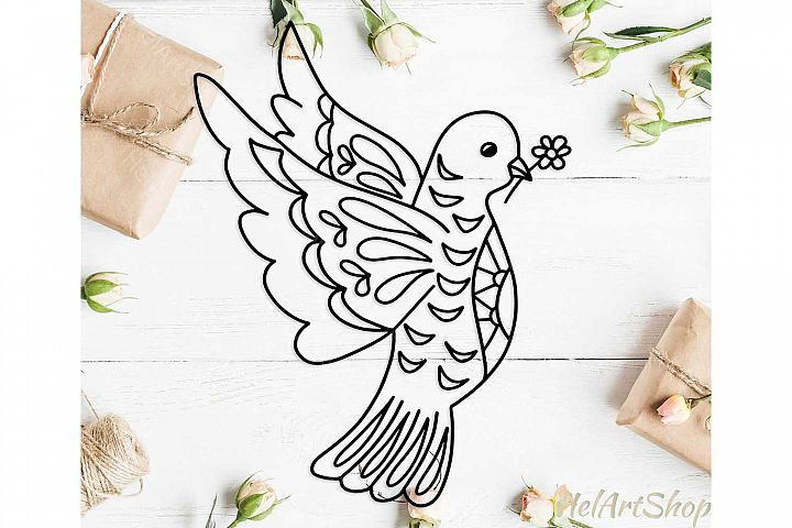 Dove svg, Day of Peace svg, Zentangle bird svg, mandala bird