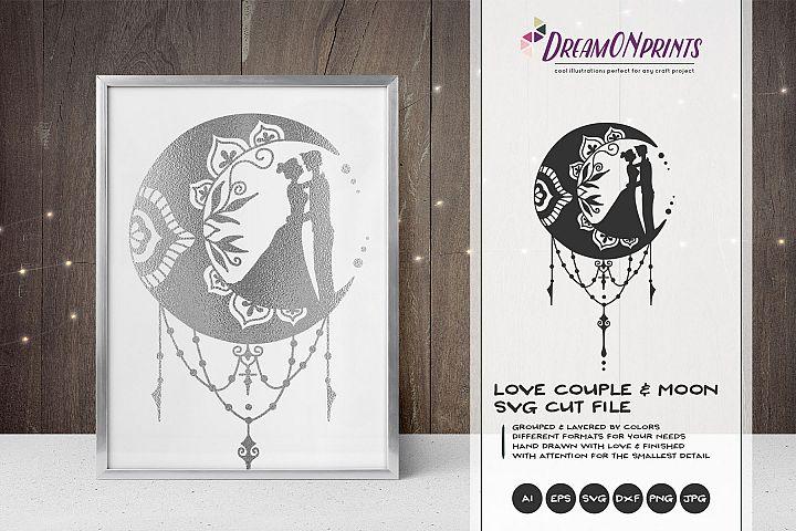 Zentangle Moon & Love Couple | Crescent Moon SVG