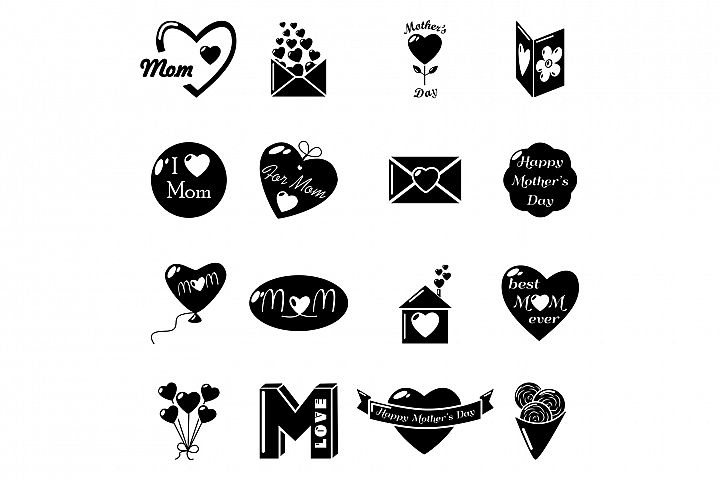 Mother Day icons set, simple style