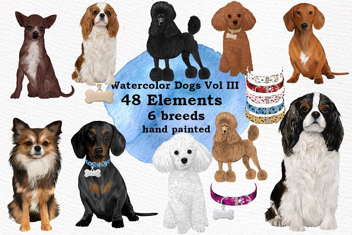 Dog Clipart Dog breeds Pet clipart Watercolor dogs clipart