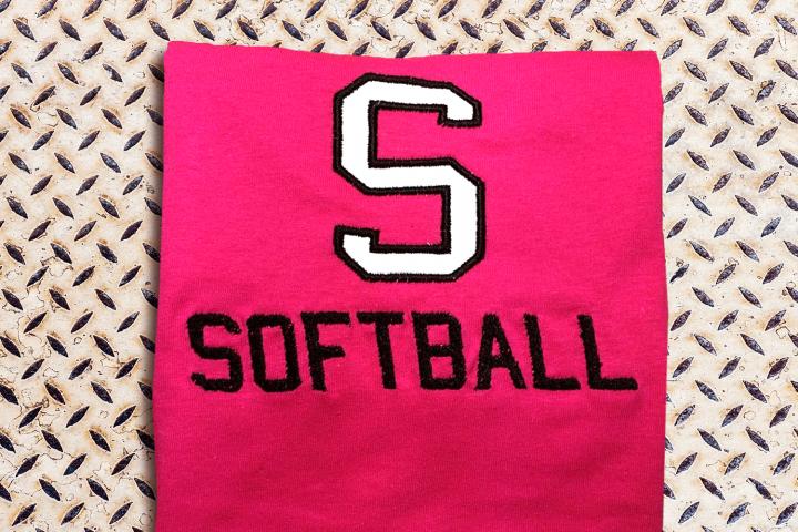 S for Softball Applique Embroidery Design