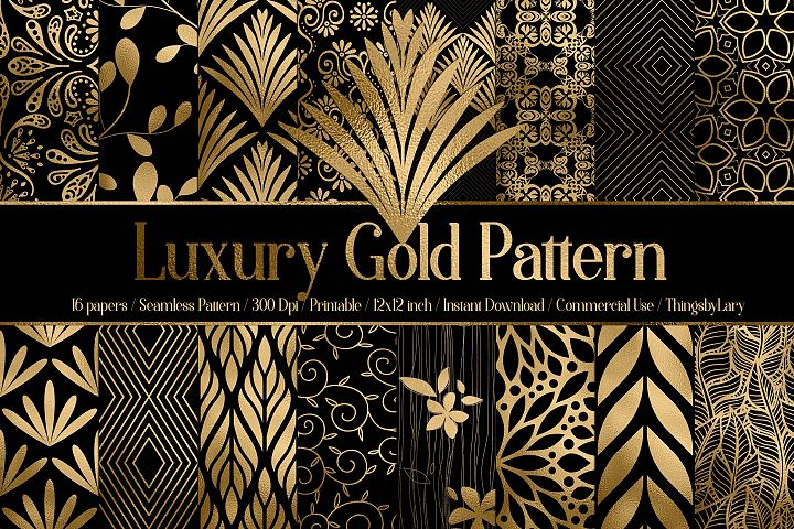 16 Seamless Black and Gold Foil Luxury Pattern Digital Paper