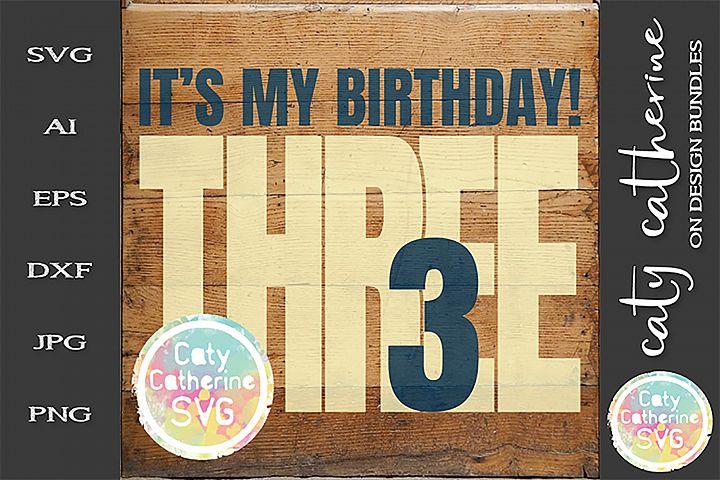 Its My Birthday Age 3 Three Cut File SVG Cut File