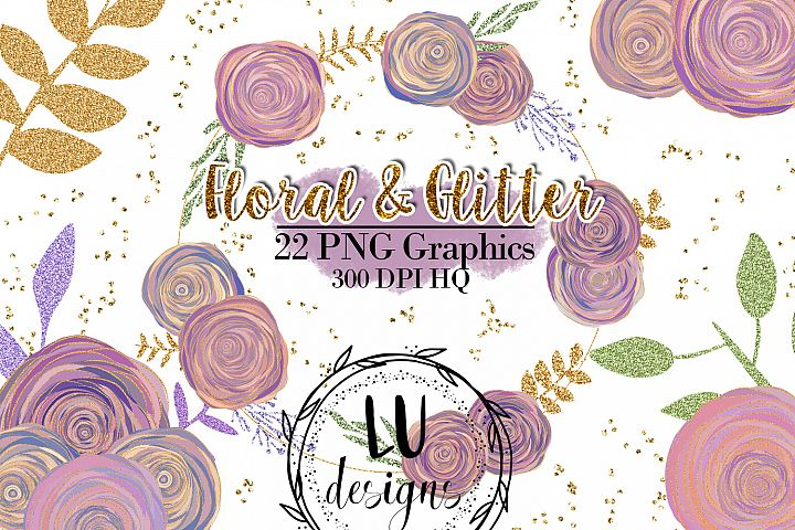 Floral and Glitter Clipart, Purple Flowers Graphics