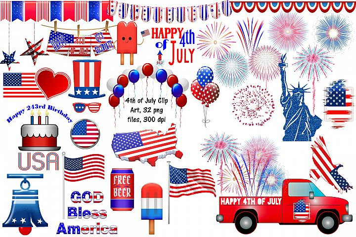 4th of July Clip Art, USA Independence