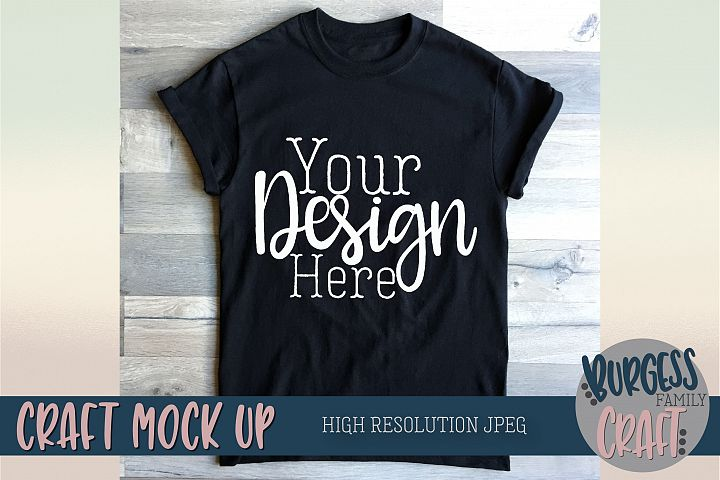 T-shirt craft mock up Basic black tee |High Resolution JPEG