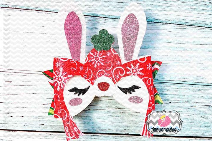 Holiday Christmas Bunny Bow Template, Winter Hat Bunny bow