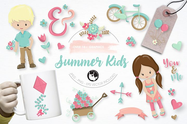 summer kids graphics and illustrations
