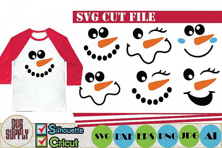 Snowman Face Set SVG Cut File