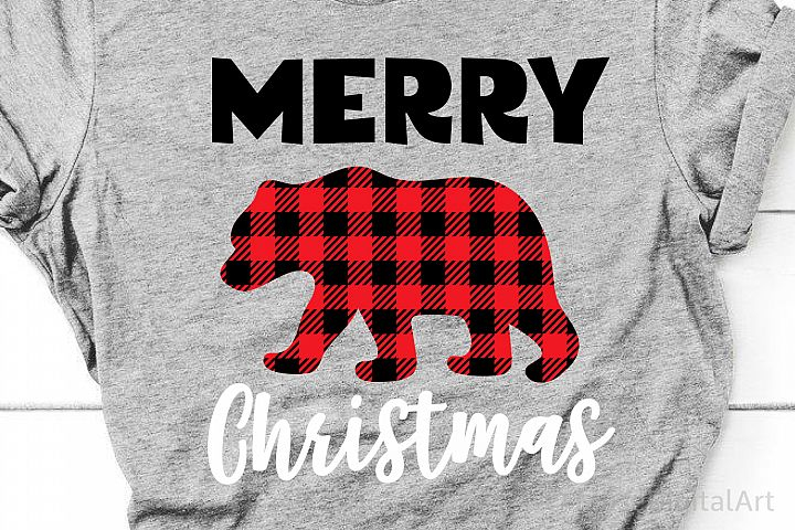 Buffalo Plaid Bear Svg, Merry Christmas Svg, Christmas Svg
