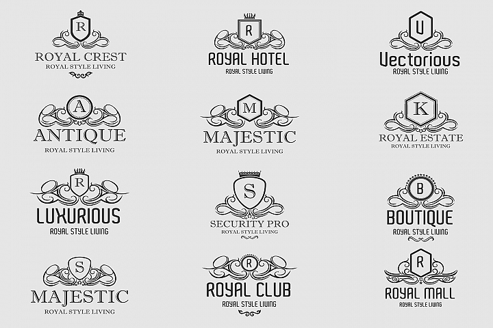 Royal Luxurious Crest Logos Set