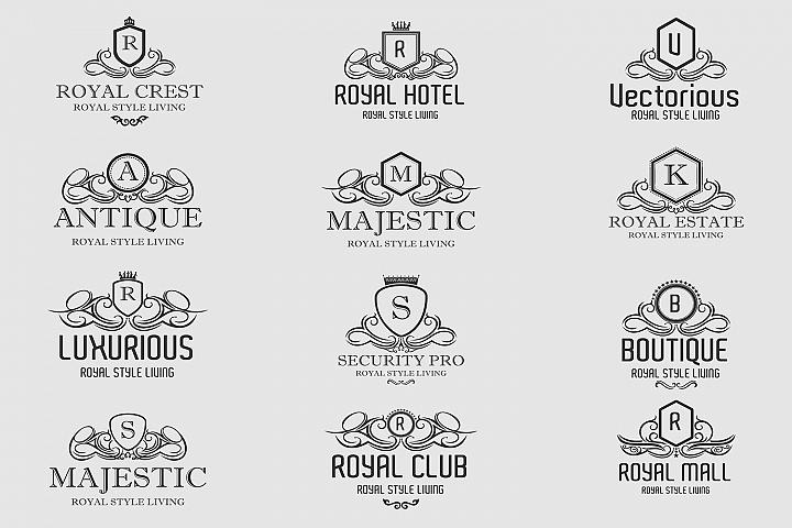 Royal Luxurious Crest Logos Set