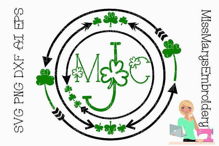 Shamrock Monogram SVG Cutting File PNG DXF AI EPS