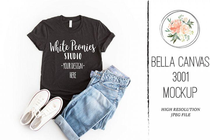 Heather Black Bella Canvas 3001 Shirt Mockup