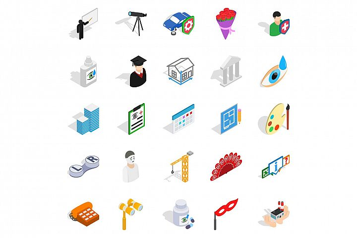 Creative idea icons set, isometric style