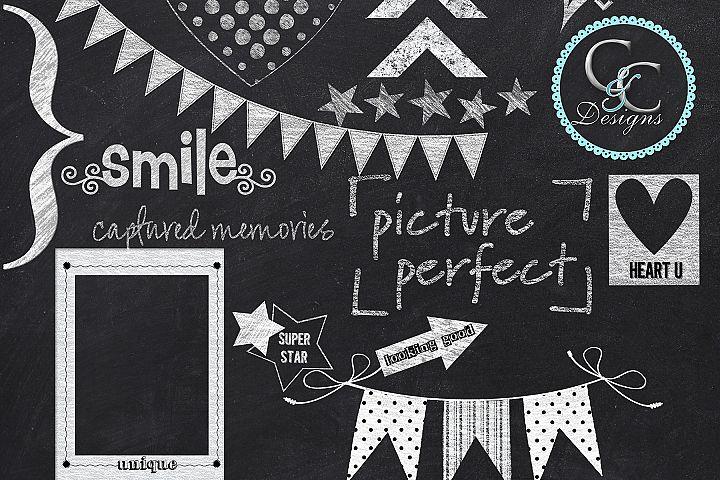 30 Chalkboard Elements-Clip Art Pack- 15 Chalk Elements and 15 Blackboard Colored Elements
