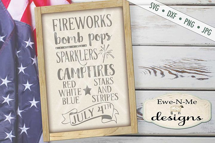 Fireworks Patriotic July 4th Subway Design SVG DXF Files