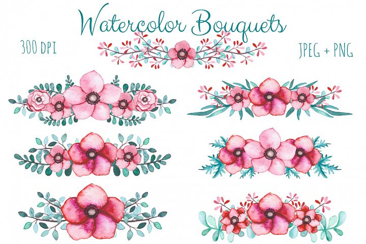 Watercolor Flowers and Birds Set example 6