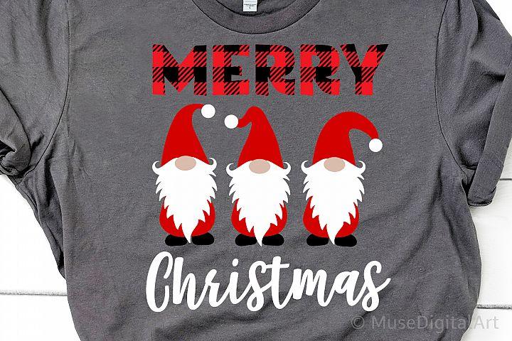 Merry Christmas Svg, Buffalo Plaid Christmas Gnomes Svg File