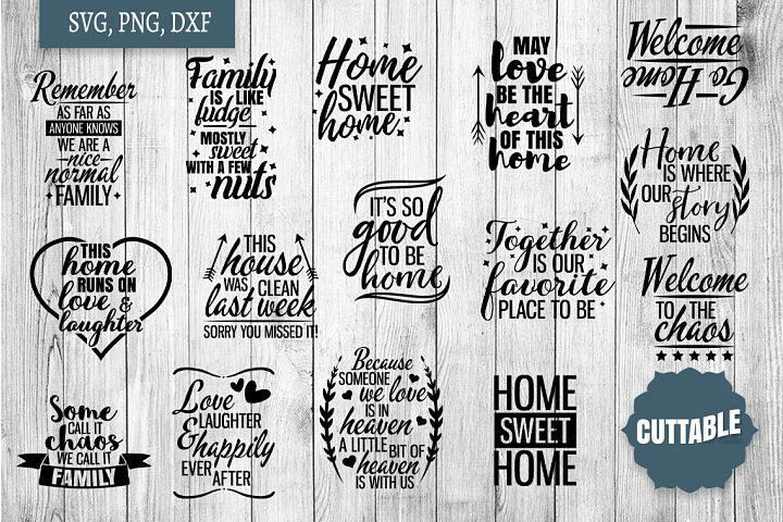 Home SVG bundle, Family quote cut file bundles, Home svgs