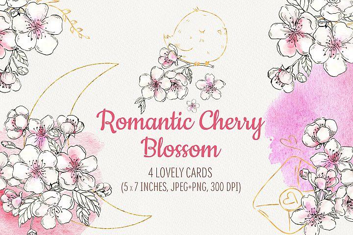 Romantic Cherry Blossom. Cute wedding cards