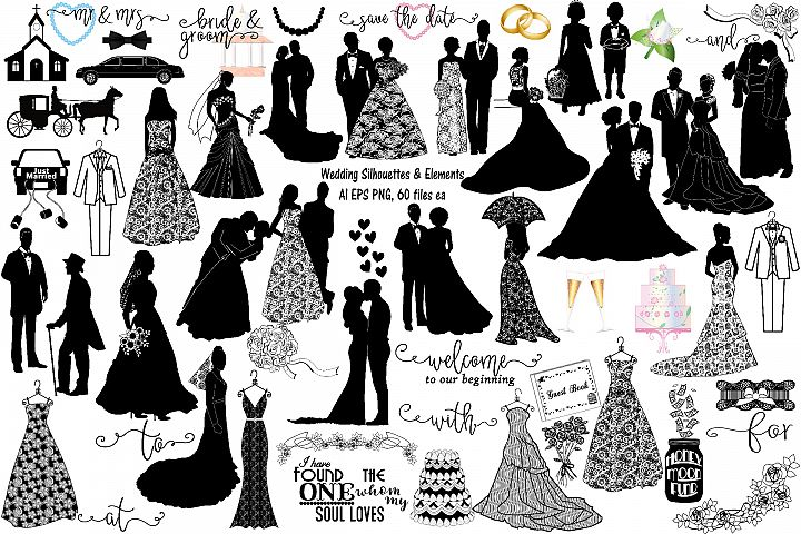 Wedding Silhouettes & Elements Vector AI EPS PNG
